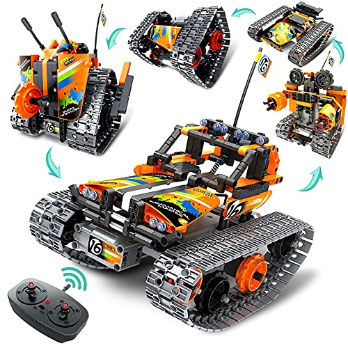 Coplus 5 in 1 Remote Control STEM Building Kit for Boys 8-12, RC Car/ Tank/ Robot/ Tracked Racer, 392 Pcs Educational Building Blocks for Kids Science Learning, RC Toy Gift Set for Boys & Girls