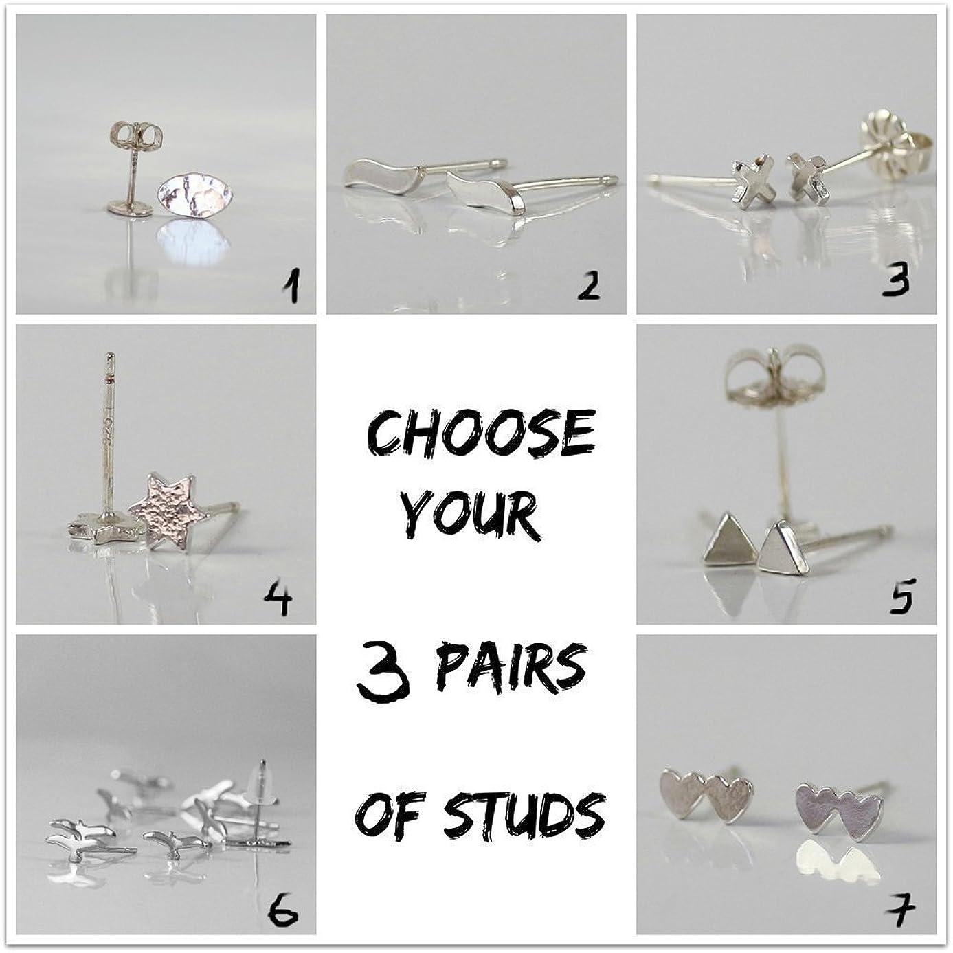 Handmade Designer Silver Stud Earrings, Set of 3 Pairs studs earrings , Sterling silver, tiny studs, Customized the 3 shape