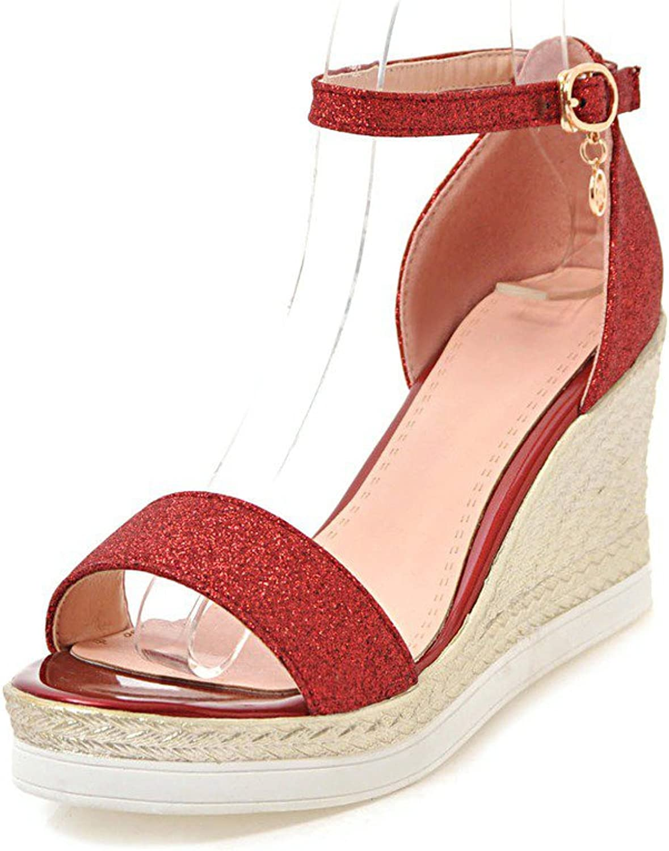 Exing Women's shoes Leatherette Summer Platform Wedge Heel for Dress Red Black gold Silver