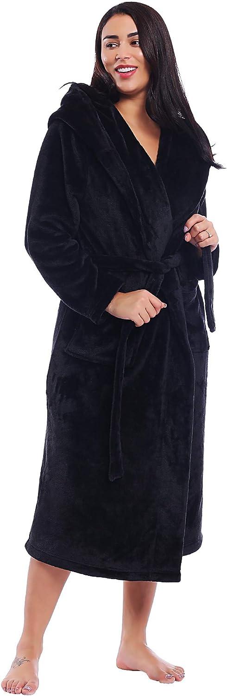 Joyaria Damen Winter Fleece Bademantel//Morgenmantel//Saunamantel//Hausmantel mit Kapuze Weich Flauschig Lang