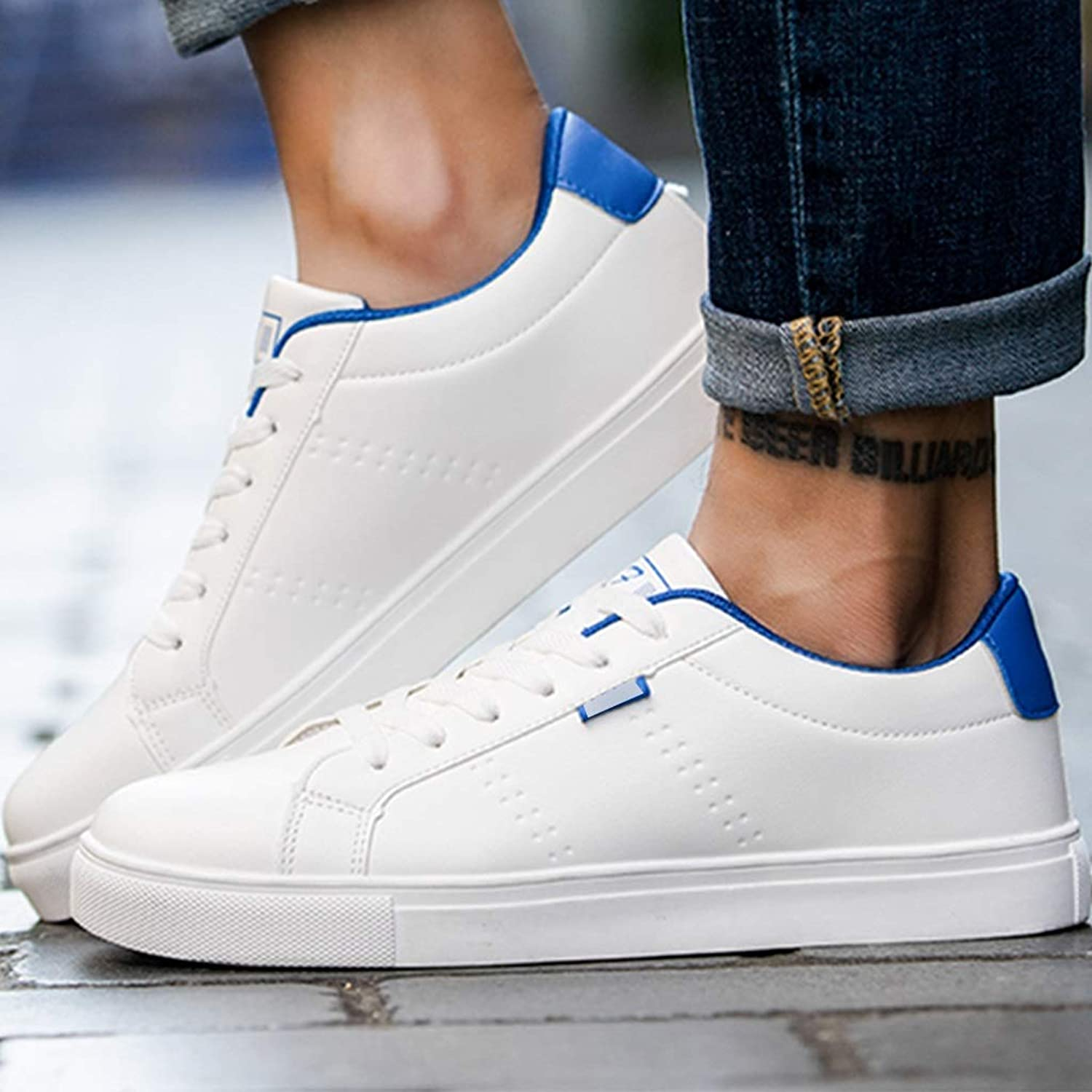 WangKuanHome Summer breathable canvas shoes trend board shoes men's wild casual canvas shoes men's shoes (color   White and bluee color, Size   44)