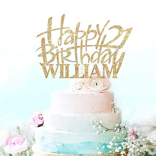 Happy Birthday Cake Topper Party Decoration Personalised With Custom Name And Age Double Sided