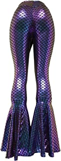 Iridescent Mermaid High Waisted Wide Leg Yoga Bell Bottom Pants Leggings