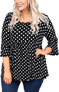 OHDREAM Womens Tunic Tops Plus Size Polka Dot Shirts Bell Ruffle 3/4 Sleeve Babydoll Peplum Casual Blouse