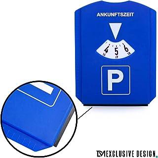 DM parkeerschijf 6 in 1 parkeerklok + bandenprofieldieptemeter, ijskrabber en winkelwagenchip kunststof blauw voor auto's