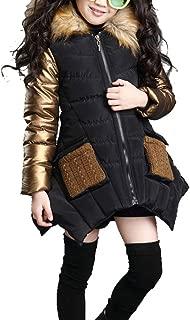 Big Girls' Winter Parka Down Coat Puffer Jacket Padded Overcoat with Fur Hood