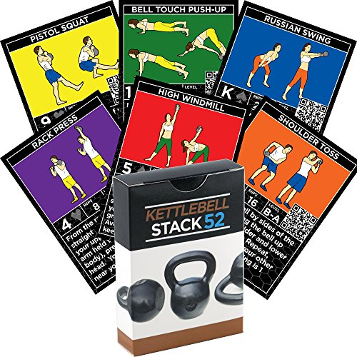 Stack 52 Kettlebell Exercise Cards. Kettlebell Workout Playing Card Game. Video Instructions Included. Learn Kettle Bell Moves and Conditioning Drills. Home Fitness Training Program.