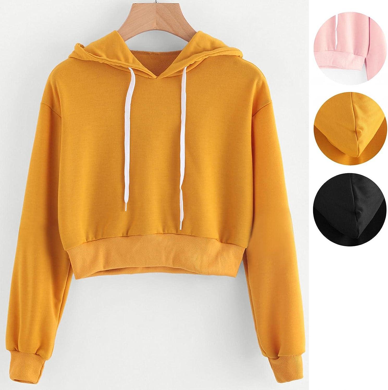 Haheyrte Womens Hoodies Long Sleeve Drawstring Sweatshirt Crop Top Pullover Top Blouse Casual Shirts Sweaters