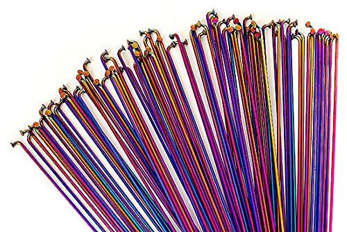 Total BMX Tech Rayons à double boutonnage Rainbow 184 mm, arc-en-ciel