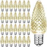 ZSML 25 Piezas C9 Salida de Luces navideñas Bombilla facetada LED Blanco cálido Reemplazo de Bombillas de luz navideña Bombilla de Luces de Cadena 3 LED SMD Bombillas en Forma de Vela Luces para