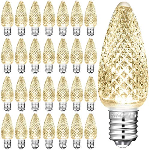 25 Pieces C9 Christmas Lights Outlet Faceted Bulb Warm White LED Replacement Christmas Light Bulbs String Lights Bulb 3 SMD LEDs Candle Shape Bulbs Lights for E17 Socket Holiday Christmas De