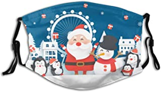 Kids Christmas Cloth Face Mask Bandana With 2pcs Filters, Santa Claus Adjustable Earloop Washable Reusable Breathable for Outdoor