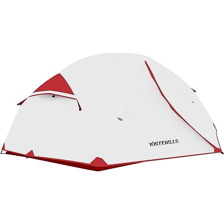 テント 2人用 ツーリングテント アウトドア用 キャンプ 自立式 二重層 設営簡単 防風 防水 防災 軽量 WhiteHills コンパクト 3シーズン 前室付き 収納袋付 ダブルウォールテント 紅白