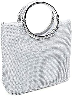 ZYWYB Glitter Clutch Evening Bags for Women Formal Bridal Wedding Clutches Purses Prom Cocktail Party Handbags (Color : Silver)