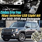16Pc Canbus Error Free Super White 6000K Car Interior LED Light Kit Compatible for 2015-2019 Jeep Renegade Equipped w/Advanced Computer system
