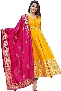 AESTHETIC PARADIGM Women and Girls Rayon Fabric Mustard Color Long Kurti with Banarasi Dupatta