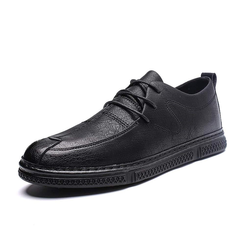 男士革靴 男性の靴のためのオックスフォードシューズはマイクロファイバーレザーシンプルピュアカラーファインとスムースをひもで締めます 個性な (Color : ブラック, サイズ : 26.5 CM)