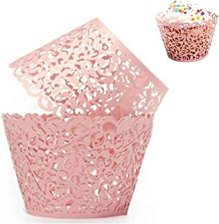 WSERE 60 Pieces Pink Cupcake Wrappers, Lace Liner Muffin Paper Cake Wraps Decorations, Safety Health for Wedding Party Birthday Decor