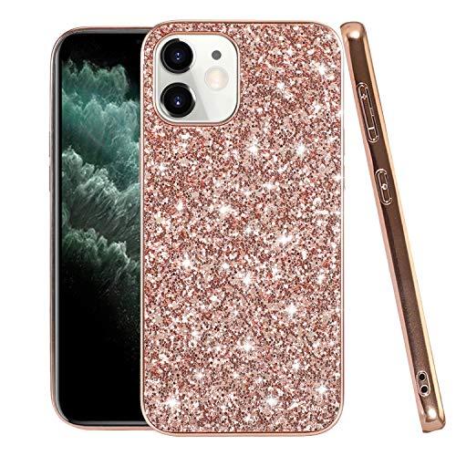 Funda para teléfono móvil compatible con iPhone 12 Mini, carcasa brillante, funda fina negra (iPhone 12 Mini, oro rosa)