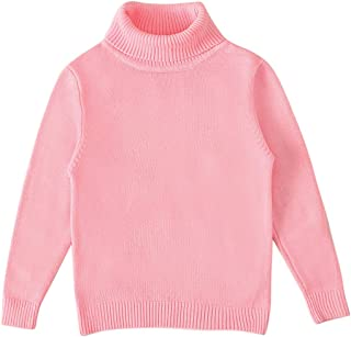 Toddler Baby Boys Girls Soft Warm Turtleneck Sweater Long Sleeve Tops Kids Solid Color Knitted Pullover
