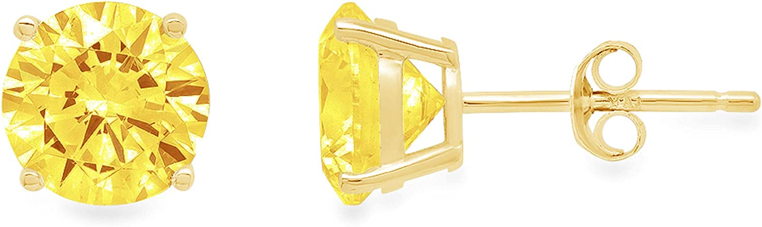 Clara Pucci 1.50 ct Brilliant Round Cut Solitaire VVS1 Flawless Yellow Simulated Diamond Gemstone Pair of Stud Earrings Solid 18K Yellow Gold Push Back
