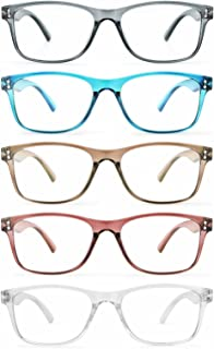 Fetrrc Reading Glasses Blue Light Blocking Computer Readers for Women/Men, Anti Glare/Fatigue Clear Square Eyeglasses 5 Pairs