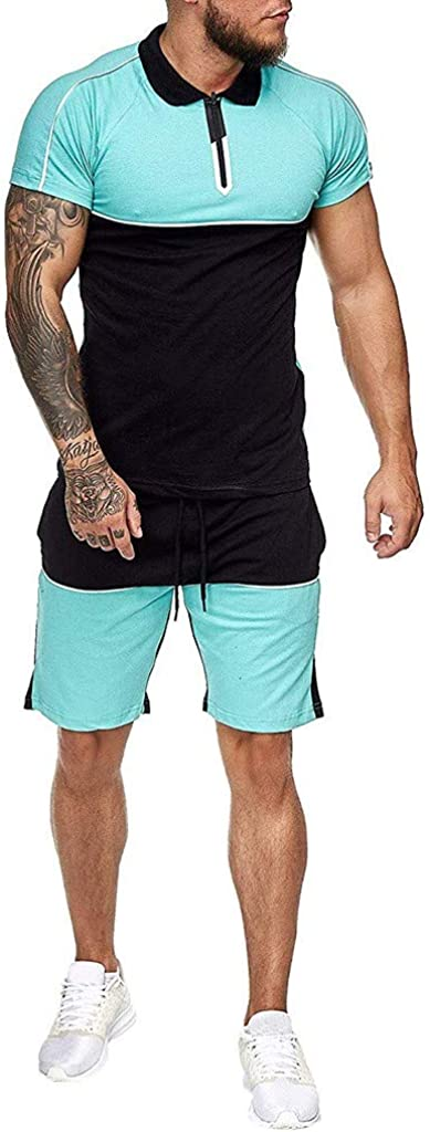 Maryia Men's 2 Piece Outfit Sport Set Summer Casual Short Sleeve T Shirts and Shorts Stylish Sports Jogger Sweatsuit