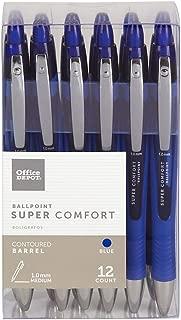 Office DepotSuper Comfort Grip Retractable Ballpoint Pen, 1.0 mm, Medium Point, Blue Barrel, Blue Ink, pk Of 12, OD37317
