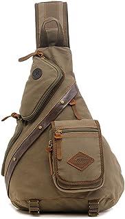 AUGUR Unisex Multifunktionale Brusttasche aus robustem Segeltuch mit verstellbarem Riemen für Wandern und Camping