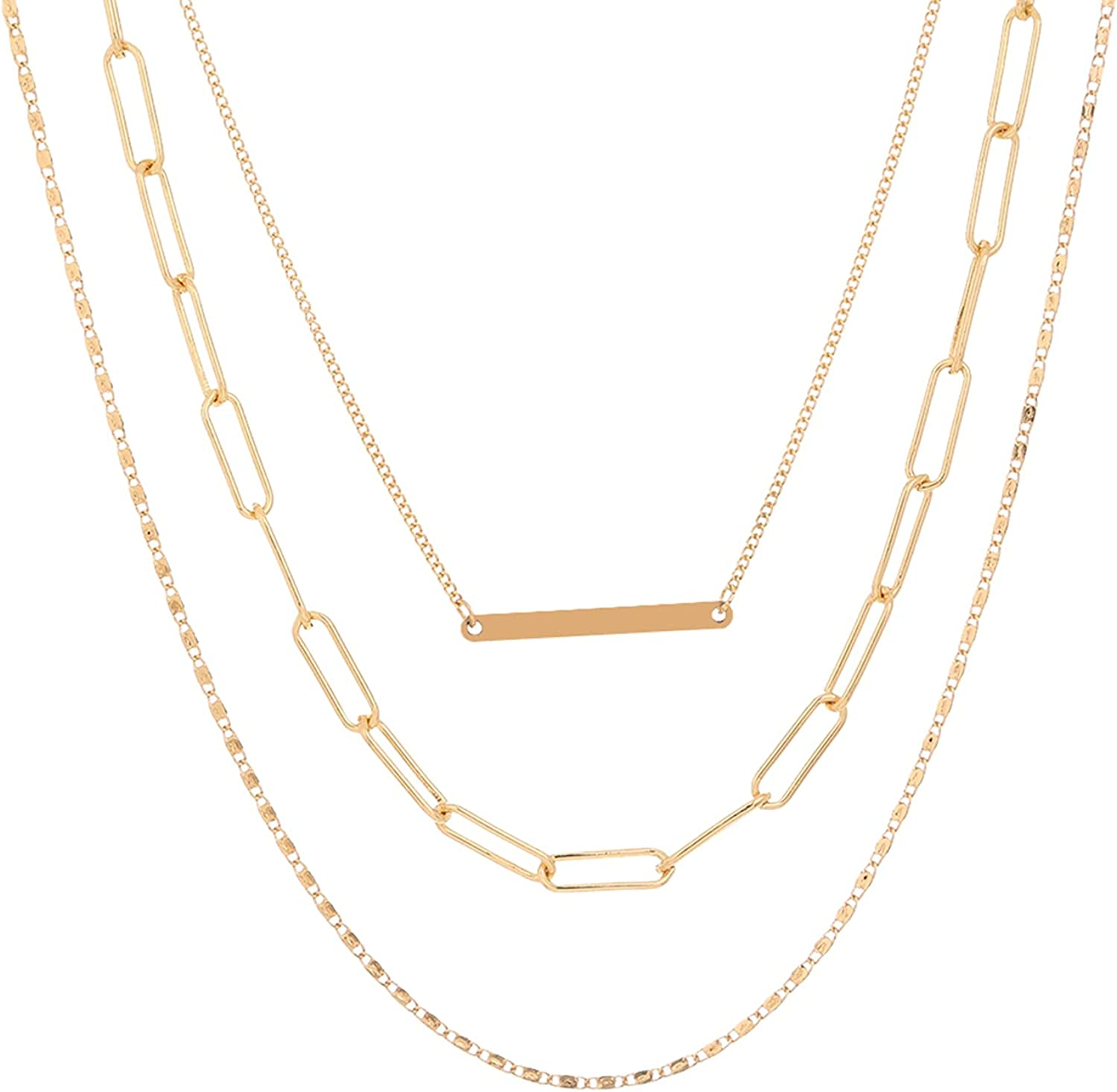 S SNUOY Gold Layered Necklaces Pendant Chokers for Women Dainty Pendant Necklace Fashion Jewelry for Girls