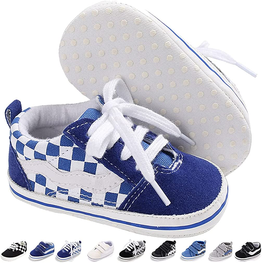 KKIIDDSS Unsex Infant Baby Boys Girls Canvas Shoes Toddler High Top Lace up Crib Soft Sole Sneakers Slip On Anti Skid Newborn First Walkers Skate Shoes (A04-Checkered Blue, 6_Months)
