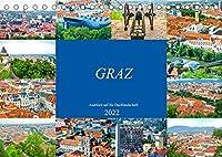 Graz - Ausblick auf die Dachlandschaft (Tischkalender 2022 DIN A5 quer): Lassen Sie sich verzaubern von der beeindruckenden und facettenreichen Stadt Graz. (Monatskalender, 14 Seiten )