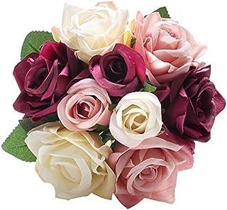 CQURE Unechte BlumenKünstliche Deko Blumen Gefälschte Blumen Seidenrosen Plastik 9 Köpfe Braut Hochzeitsblumenstrauß für Haus Garten Party Blumenschmuck Mischfarbe