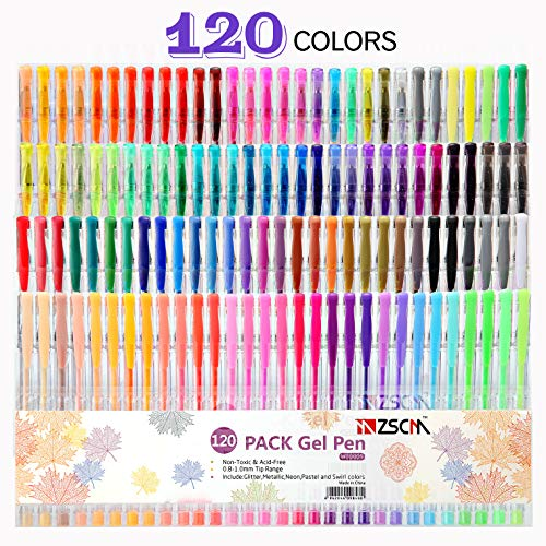 ZSCM 120 Colors Artist Gel Pen Set with Case, Glitter Neon Gel Pens Art Markers Ink Pens for Adult Coloring Books Craft Doodling Bullet Journaling Drawing