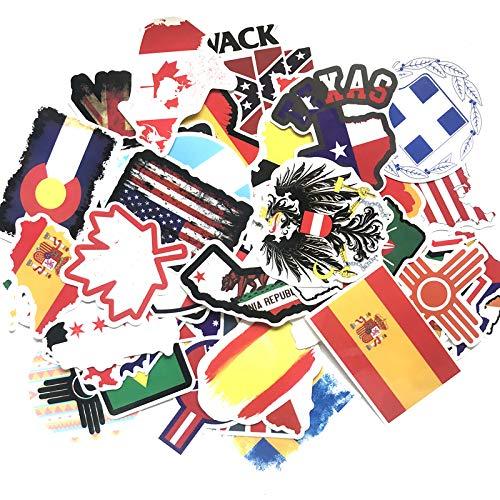greestick Aufkleber Flaggen Welt Länder Europa 50 Stück Nationalflaggen Sticker Fahnen Urlaub Stickerbomb Reise
