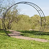 Metal Tunnel Garden Arbor with Stakes in Black 85.4W x 22.8D x 78.3H in.