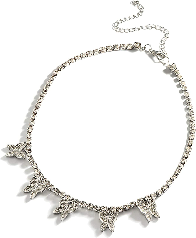 Stylish Butterflies Pendant Rhinestone Jew Necklace Inlaid Chain Special sale Sale SALE% OFF item