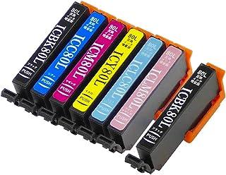 エプソン用 【 IC80L 】 IC80 互換 増量版 【 6色セット + ブラック 】 IC6CL80L互換 + ICBK80L互換 (全7本)(Model-T)【旧ラベル商品 保証付】