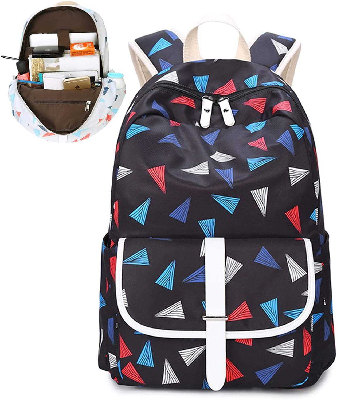 MIMI KING Oxford School Backpack For Girls Teens Kids Large Laptop Printing Handbag