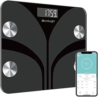 مقیاس چربی بدن ، مقیاس وزن BMI حمام دیجیتال بی سیم هوشمند ، آنالیز کننده ترکیب بدن مانیتور سلامتی با پلت فرم شیشه ای معتدل LCD با نور پس زمینه بزرگ دیجیتال با برنامه گوشی های هوشمند