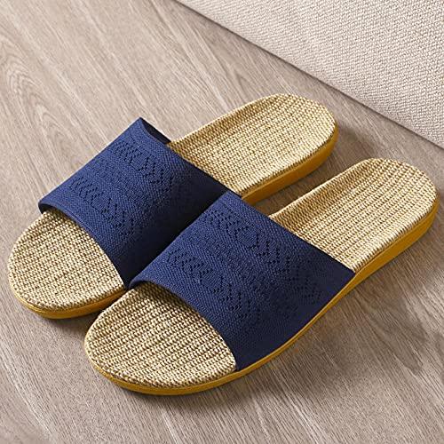 Sandalia Tipo Chancla con,Zapatillas de Lino de Primavera y Verano, Pareja de Zapatos Antideslizantes Inferiores para el hogar-Tibetano_37-38,Zapatillas de Verano Ligeramente Suaves