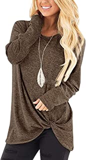 Yisism Women's Knot Twist Front Long Sleeve Tunic Top Casual Round Neck Blouse T Shirts