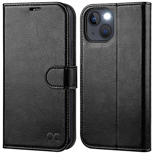 OCASE iPhone 13 Hülle Handyhülle [Premium PU Leder] [Kartenfach] [Magnetverschluss] RFID Schutzhülle Klapphülle Handytasche Lederhülle Flip Hülle Cover Tasche Etui Kompatibel für iPhone 13 Schwarz