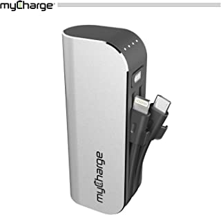 myCharge HubMini Portable Charger 3300mAh External Battery Pack Power Bank Built-in Lightning Cable and Micro-USB Cable for Cell Phones (iPhone Xs, XS Max, XR, X, 8, 8 Plus, 7, 6S, Samsung Galaxy)