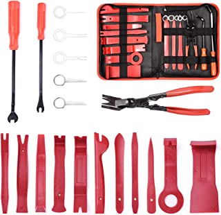 MICTUNING 19Pcs Auto Audio Trim Removal Tool Set & Clip Plier Upholstery Fastener Remover Nylon Dash Door Panel Stereo Tool Kits (Red)