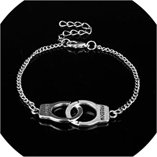Peony red 50 Fifty Shades of Grey Handcuffs Charm Bracelets Handcuff Link Chain Bracelet Hot Jewelry Handmade Freedom Bangles