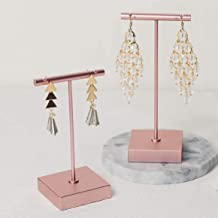 BanST Earring Display T Stand for Show, T Bar Jewelry Holder Tree for Retail Photography 【Rose Gold-Square Base-Height 4 1/2