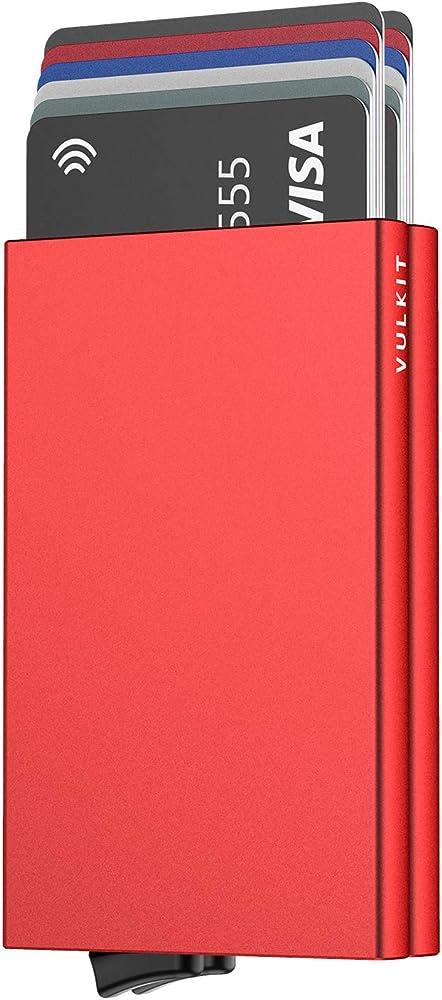 Vulkit alpha, porta carte di credito, blocco rfid, in alluminio, rosso