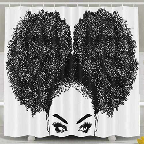 Abaysto African American Women Hair Shower Curtain,Bath Curtains Bathroom Decor Sets with Hooks Shower Bath Curtain for Bathroom,Polyester Fabric Bathroom Shower Curtain