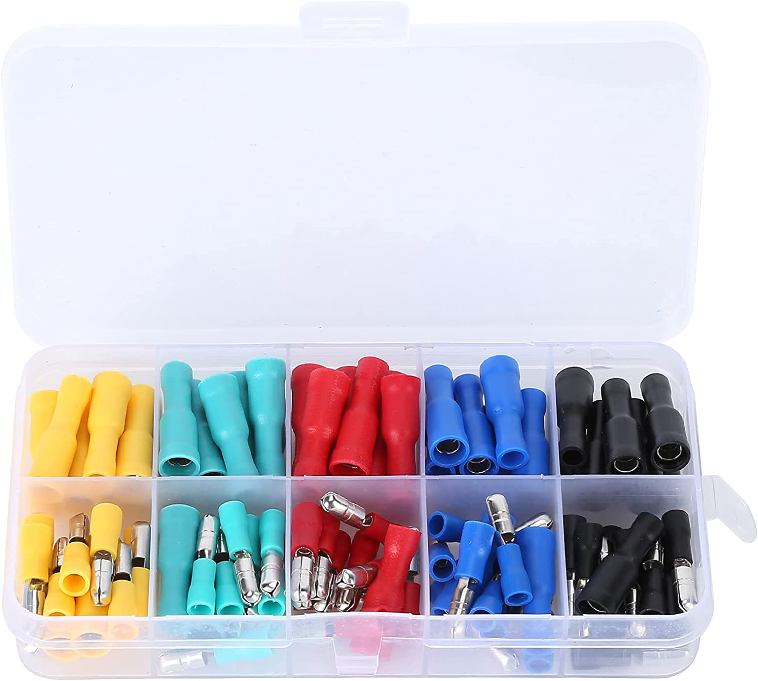 100x Fully Insulated Spade Electrical Crimp Connectors- Mixed Ma
